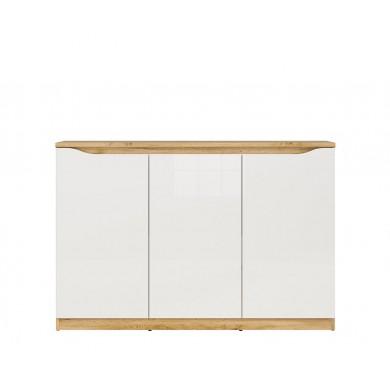нисък шкаф Нуис с 3 врати в бял гланц