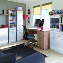 Единичен шкаф Топ микс с чекмедже и 3 рафта в бяло