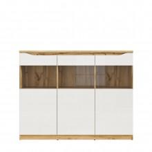 шкаф Нуис с 3 стъклени врати в бял гланц