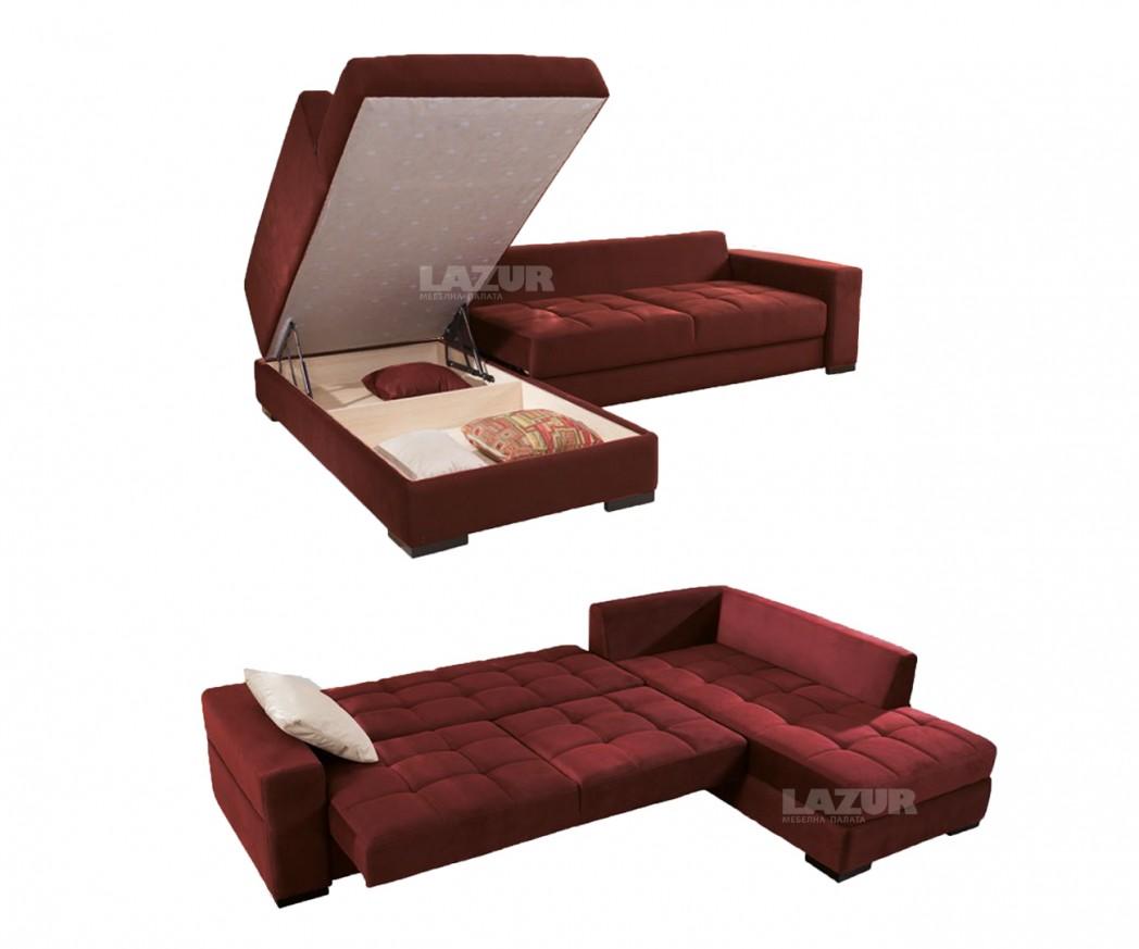 Ъглов диван Идеа с функция сън и ракла
