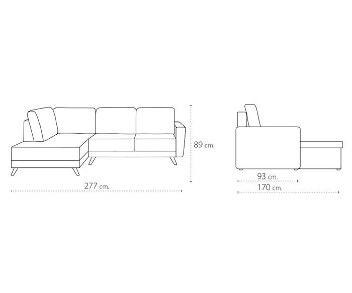 ъглов диван Малмое с функция сън