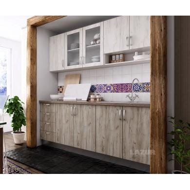 модулна кухня готова конфигурация дъб крафт сив и дъб крафт бял