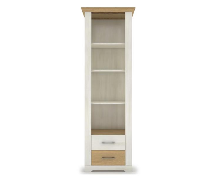 висок шкаф Арсал с открити рафтове и 2 чекмеджета