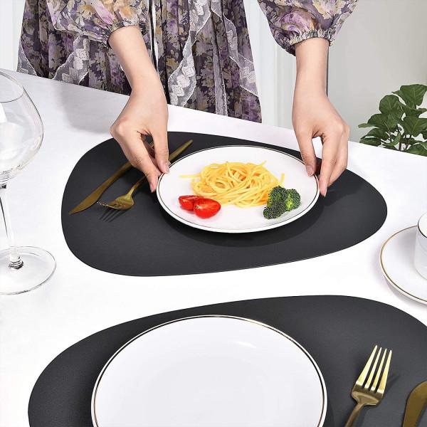 кожени подложки за хранене комплект от 6 броя различни цветове