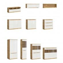 скрин Нуис с 3 чекмеджета в бял гланц