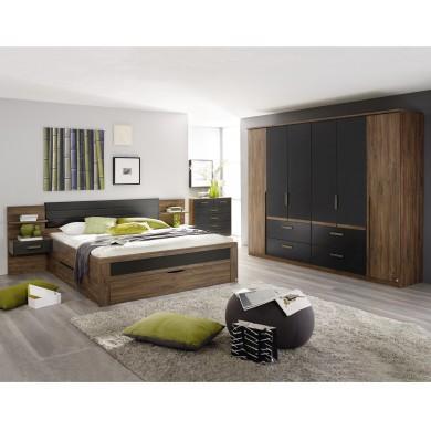 Шесткрилен гардероб Бернау с чекмеджета и дръжки