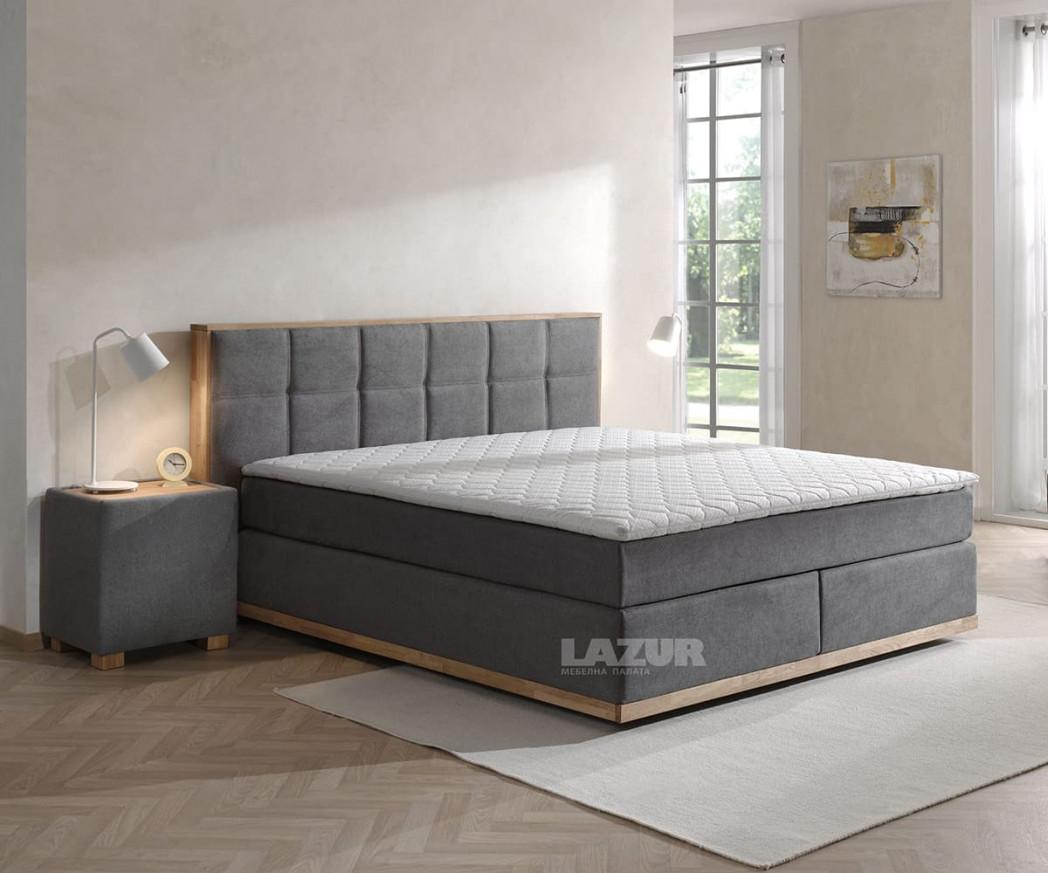 Тапицирано боксспринг легло Левана за матрак 160/200 см с включен топер