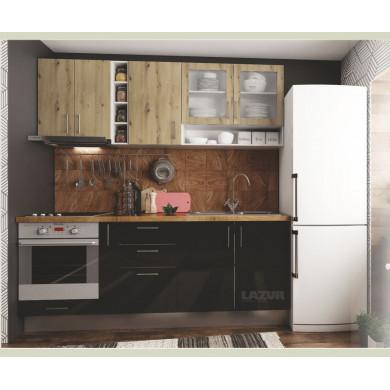 модулна кухня готова конфигурация черен гланц и артизан светъл