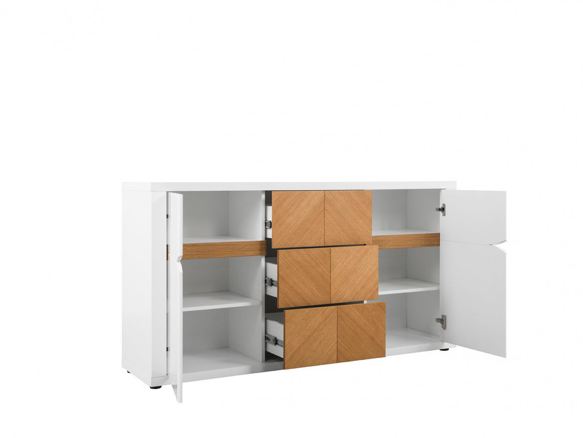 нисък шкаф Ровика с 2 врати и 3 чекмеджета