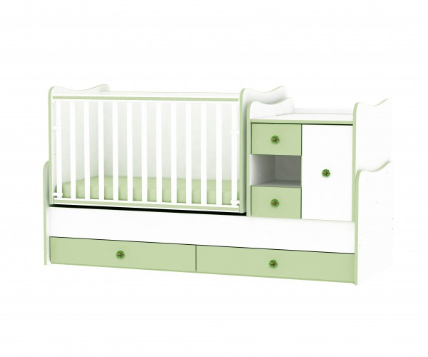 легло люлка Minimax в бяло и зелено
