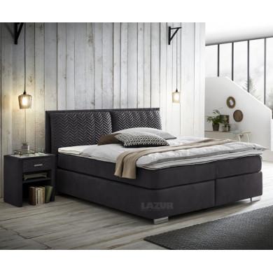 тапицирано Boxspring легло Ливърпул с матрак 180/200 см и топер