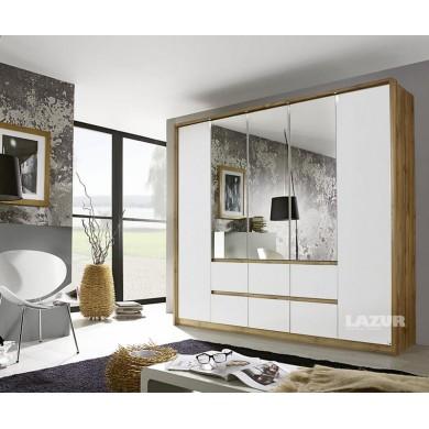 Голям гардероб Майнц с пет врати, чекмеджета и огледала