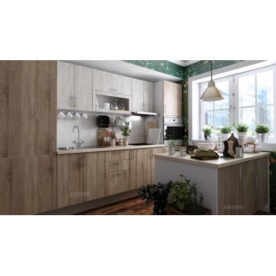 модулна кухня готова конфигурация дъб сонома и дъб крафт бял