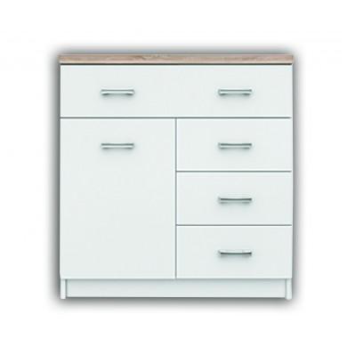 Нисък шкаф Топ микс с 1 врата и 4 чекмеджета в бяло