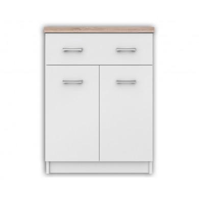 Нисък шкаф Топ микс с 2 врати и 1 чекмедже в бяло