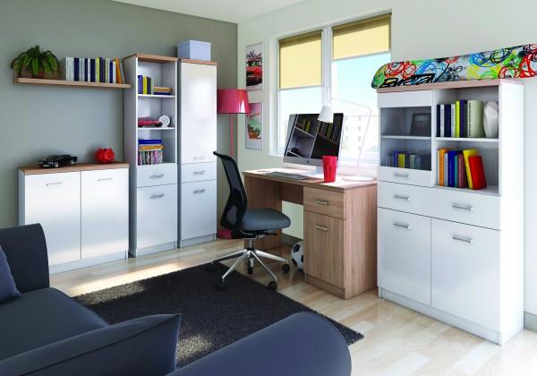 Висок шкаф етажерка Топ микс в бяло