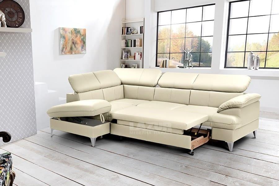 Разтегателен ъглов диван Давид II от кожа