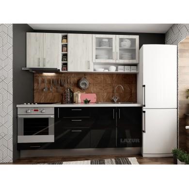 модулна кухня готова конфигурация черен гланц и дъб крафт бял