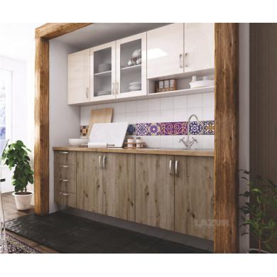 модулна кухня готова конфигурация артизан тъмен и крем гланц