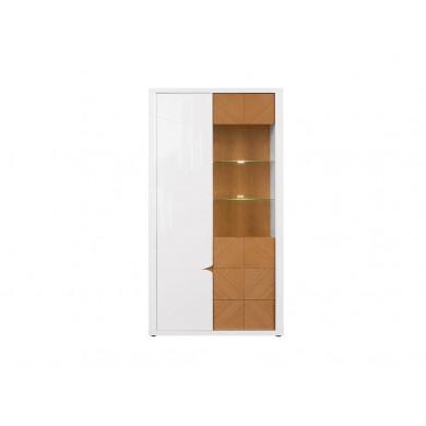 Висок шкаф Ровика с 1 врата и 1 витрина
